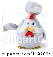 Clipart Of A 3d Chubby Chef Chicken Pointing Royalty Free CGI Illustration