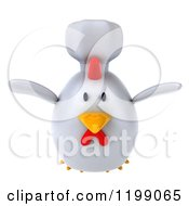 Clipart Of A 3d Chubby Chef Chicken Flying Royalty Free CGI Illustration