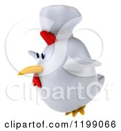 Clipart Of A 3d Chubby Chef Chicken Flying 2 Royalty Free CGI Illustration