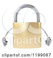 Clipart Of A 3d Padlock Mascot Royalty Free CGI Illustration by Julos