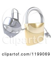 Clipart Of A 3d Padlock Mascot Holding A Thumb Up Royalty Free CGI Illustration by Julos