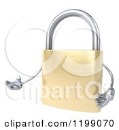 Clipart Of A 3d Padlock Mascot Presenting Royalty Free CGI Illustration by Julos