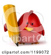 3d Chubby Red Bird Writing With A Pencil