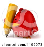 3d Chubby Red Bird Writing With A Pencil 2