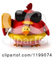 Clipart Of A 3d Chubby Red Bird With A Popsicle Sunglasses And Inner Tube Royalty Free CGI Illustration