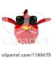 Clipart Of A 3d Chubby Red Bird Wearing Sunglasses And Flying Royalty Free CGI Illustration