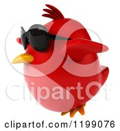 Clipart Of A 3d Chubby Red Bird Wearing Sunglasses And Flying 2 Royalty Free CGI Illustration