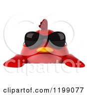 Clipart Of A 3d Chubby Red Bird Wearing Sunglasses Over A Sign Royalty Free CGI Illustration