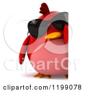 Clipart Of A 3d Chubby Red Bird Wearing Sunglasses By A Sign Royalty Free CGI Illustration