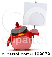 3d Chubby Red Bird Wearing Sunglasses And Holding A Sign