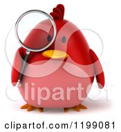 Clipart Of A 3d Chubby Red Bird Searching With A Magnifying Glass Royalty Free CGI Illustration