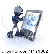 3d Blue Android Robot Using A Tablet Computer