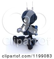 Clipart Of A 3d Blue Android Robot Playing A Video Game Royalty Free CGI Illustration by KJ Pargeter