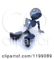 Clipart Of A 3d Blue Android Robot Sitting Back And Gazing At The Sky Royalty Free CGI Illustration