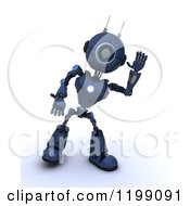 Clipart Of A 3d Blue Android Robot Waving Royalty Free CGI Illustration