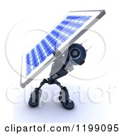 Clipart Of A 3d Blue Android Robot Carrying A Solar Panel On His Back Royalty Free CGI Illustration by KJ Pargeter