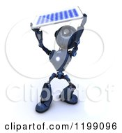 Clipart Of A 3d Blue Android Robot Holding Up A Solar Panel Royalty Free CGI Illustration