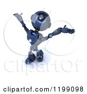 Clipart Of A 3d Blue Android Robot Holding His Arms Out To The Sky Royalty Free CGI Illustration by KJ Pargeter