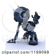Clipart Of A 3d Blue Android Robot Reaching Out Royalty Free CGI Illustration