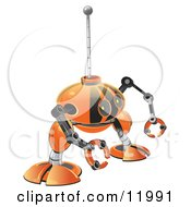 Small Orange Robot With Claw Hands Clipart Illustration