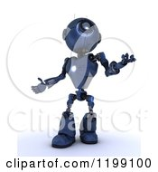 Clipart Of A 3d Blue Android Robot Looking Up Royalty Free CGI Illustration
