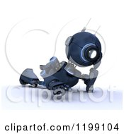 Clipart Of A 3d Blue Android Robot Thinking On The Floor Royalty Free CGI Illustration