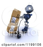 Clipart Of A 3d Blue Android Robot Moving Boxes On A Dolly Royalty Free CGI Illustration