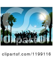 Clipart Of Silhouetted People Dancing Between Beach Palm Trees Against A Sunny Blue Sky Royalty Free Vector Illustration by KJ Pargeter