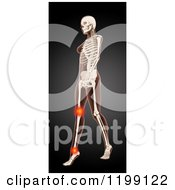 Clipart Of A 3d Walking Female Medical Model With Glowing Knee And Ankle Pain On Black Royalty Free CGI Illustration