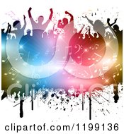 Clipart Of A Crowd Of Silhouetted People Over A Burst Of Colorful Lights And Music Notes On White Royalty Free Vector Illustration by KJ Pargeter