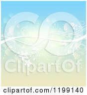Clipart Of A White Floral Vine Over Gradient Blue And Yellow With Flares Royalty Free Vector Illustration
