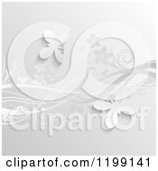 Clipart Of A Grayscale Background Of Floral Vines And Butterflies Royalty Free Vector Illustration