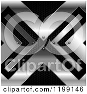 Clipart Of A 3d Silver Metal X On Black Royalty Free Vector Illustration