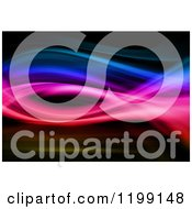 Clipart Of A Background Of Colorful Swoosh Waves On Black Royalty Free CGI Illustration