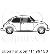 Clipart Of A Vintage Black And White Vw Beetle Car With Tinted Windows Royalty Free Vector Illustration
