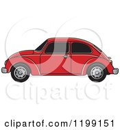 Clipart Of A Vintage Red Vw Beetle Car With Tinted Windows Royalty Free Vector Illustration