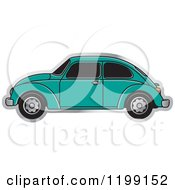 Clipart Of A Vintage Sea Green Vw Beetle Car With Tinted Windows Royalty Free Vector Illustration