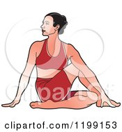 Clipart Of A Fit Woman In Red In The Ardha Matsyendrasana Yoga Pose Royalty Free Vector Illustration by Lal Perera