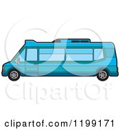 Clipart Of A Blue Tourist Van Royalty Free Vector Illustration by Lal Perera