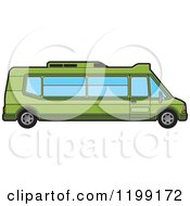 Clipart Of A Green Tourist Van Royalty Free Vector Illustration by Lal Perera