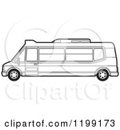 Clipart Of A Black And White Tourist Van Royalty Free Vector Illustration by Lal Perera
