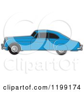 Clipart Of A Blue Vintage Bently Car With Tinted Windows Royalty Free Vector Illustration