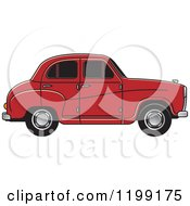 Clipart Of A Red Austin A30 Car Royalty Free Vector Illustration
