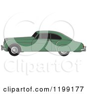 Clipart Of A Green Vintage Bently Car With Tinted Windows Royalty Free Vector Illustration