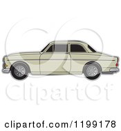 Clipart Of A Beige Volvo Car Royalty Free Vector Illustration
