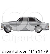 Clipart Of A Silver Volvo Car Royalty Free Vector Illustration