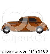 Clipart Of A Vintage Brown Benz Royalty Free Vector Illustration