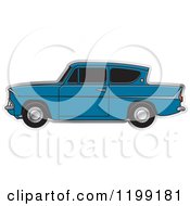 Clipart Of A Vintage Blue Ford Anglia Car With Tinted Windows Royalty Free Vector Illustration