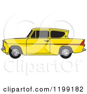 Clipart Of A Vintage Yellow Ford Anglia Car With Tinted Windows Royalty Free Vector Illustration