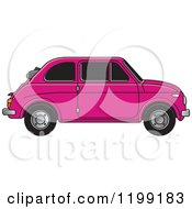 Clipart Of A Vintage Pink Fiat Car With Tinted Windows Royalty Free Vector Illustration